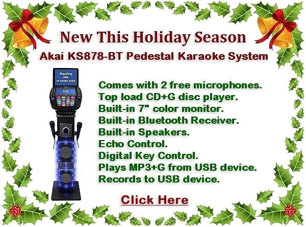 Akai KS878-BT Bluetooth/CDG Pedestal Karaoke Machine with Light Effects